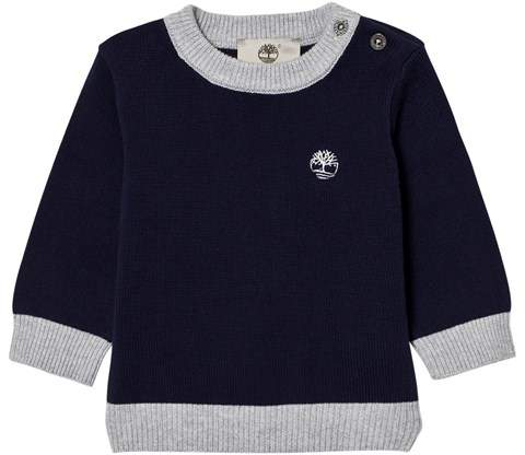 Navy Cotton Knit Branded Jumper