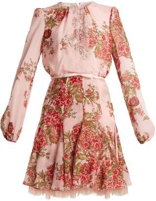 Giambattista Valli Rose-print lace-trimmed silk-georgette dress