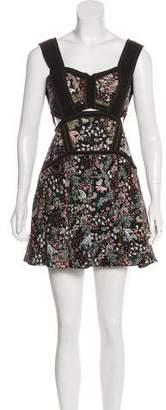 Self-Portrait Embroidered Sleeveless Mini Dress