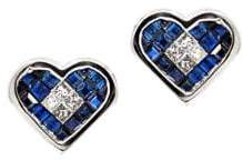 Diamond, Blue Sapphire and 14K White Gold Heart-Shaped Stud Earrings, 0.2 TCW