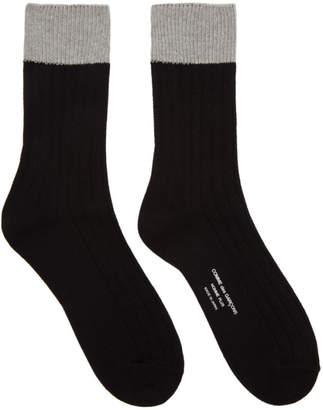 Comme des Garcons Black and Grey Multi Rib Socks