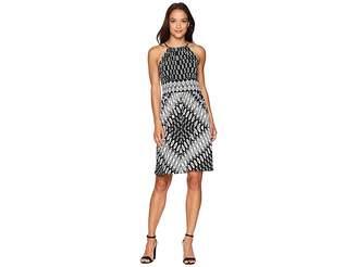 London Times Diamond Shield Short Keyhole Halter Dress Women's Dress