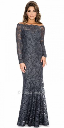 Decode 1.8 Scalloped Lace Off the Shoulder Long Sleeve Evening Dress $198 thestylecure.com