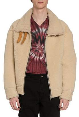 Amiri Men's Oversized Shearling Jacket w/ Leather Straps