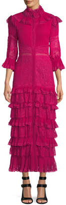 Alice + Olivia Carmina Pleated Lace Ruffle Midi Dress