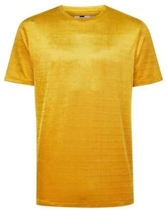Topman Mens Yellow Velour Corduroy T-Shirt