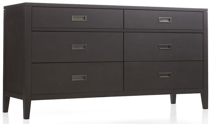 Crate & Barrel Arch Charcoal 6-Drawer Dresser