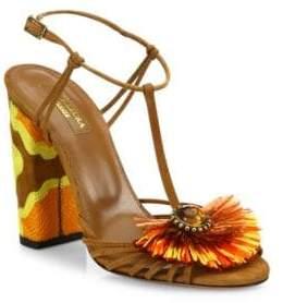 Aquazzura Samba Embellished Suede Block Heel Sandals