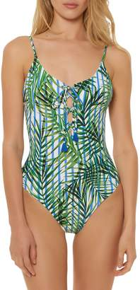 Red Carter Lace-Up One Piece Swimsuit