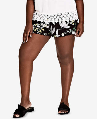 City Chic Trendy Plus Size Maui Ruffled Shorts