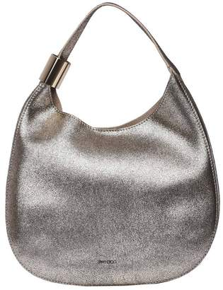 Jimmy Choo Crossbody Bags Stevie Hobo Bag In Laminated Leather With Maxi Metal Ring