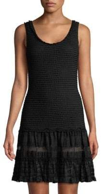 Jonathan Simkhai Coverup Mesh-Stripe Tiered Dress