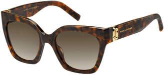 Marc Jacobs Square Acetate Sunglasses w/ Logo Temples