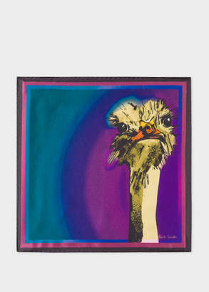 Paul Smith Men's Purple 'Safari Animals' Print Silk Pocket Square