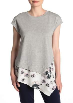 DKNY Cap Sleeve Printed Asymmetrical Hem T-Shirt