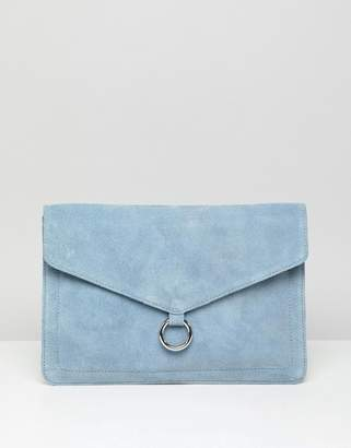 Asos DESIGN suede envelope clutch bag with ring detail