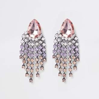 River Island Pink silver tone jewel drop stud earrings