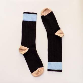 Blade + Blue Solid Black with Camel & Blue Tipping Socks