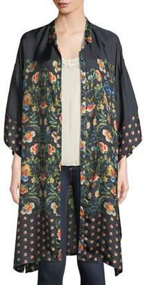 Johnny Was Delight Printed Long Button-Front Silk Jacket, Plus Size