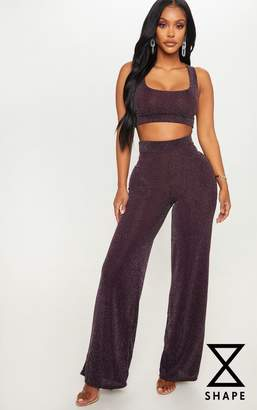 PrettyLittleThing Shape Purple Textured Glitter Wide Leg Trouser