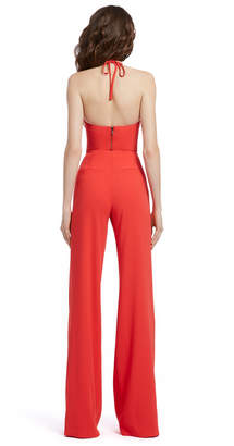 Alice + Olivia JAYMEE TIE NECK HALTER CROP TOP