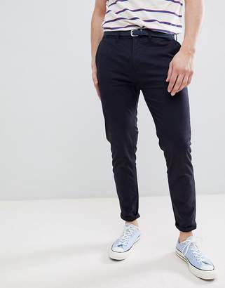 Pull&Bear Skinny Chinos With Belt In Navy
