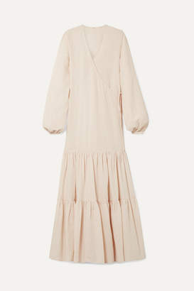 BEIGE Matin MATIN - Tiered Cotton And Linen-blend Voile Wrap Maxi Dress