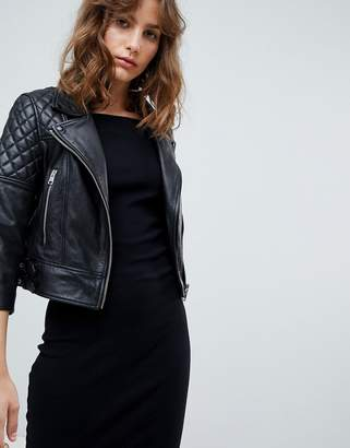 AllSaints quilted leather biker jacket