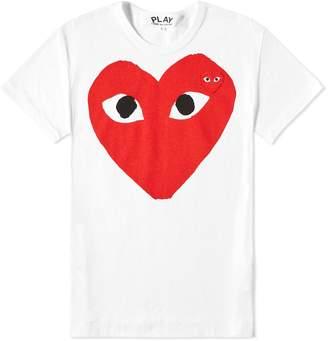 Comme des Garcons Women's Double Heart Logo Tee