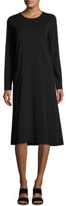 Joan Vass Long-Sleeve Crewneck Interlock Shift Dress, Petite