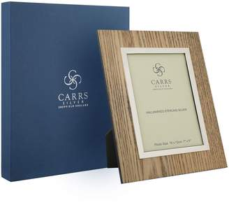 """Carrs of Sheffield Silver Zebra Wood Boardered Photo Frame (7""""x5"""")"""