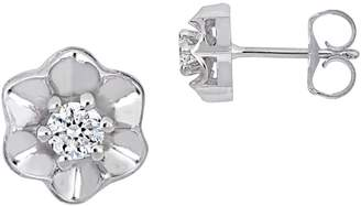 Everly Floral 14K White Gold 0.16 TCW Diamond Stud Earrings