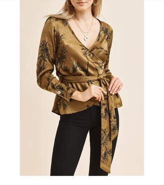 Dynamite Satin Wrap Blouse TAINTED GOLD