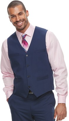 Savile Row Men's Slim-Fit Blue Suit Vest