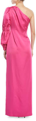 Zac Posen One-Shoulder Balloon-Sleeve Evening Gown