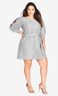 City Chic Citychic Stripe Embroidered Dress