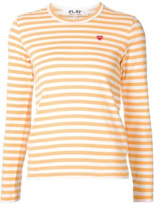 Comme des Garcons mini-heart striped T-shirt