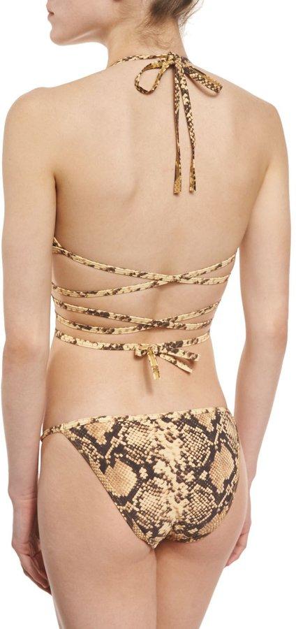 Michael Kors Python-Print Wrap Two-Piece Bikini Set 3