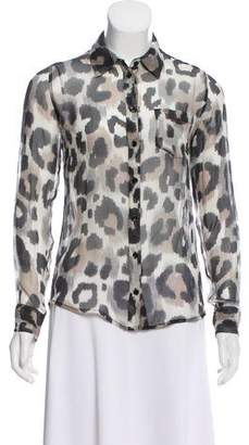 Equipment Silk Leopard Print Blouse