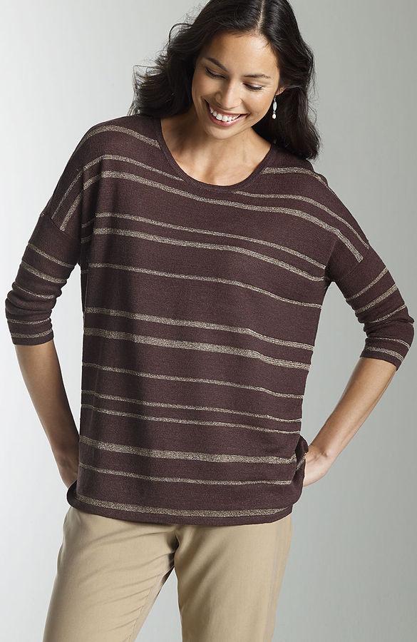 J. Jill Metallic striped pullover