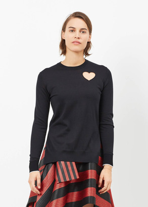 Proenza Schouler black combo heart cut out pullover $595 thestylecure.com