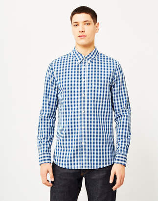Lee 101 Buttoned Down Indigo Check Shirt Blue