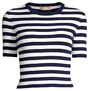 Michael Kors Women's Striped Ribbed Crewneck Tee