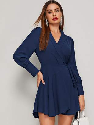 Shein Shawl Collar Knot Wrap Dress