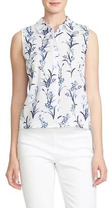 CeCe Print Dotted Swiss Cotton Sleeveless Shirt $69 thestylecure.com