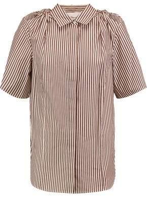 3.1 Phillip Lim Gathered Striped Cotton And Silk-Blend Poplin Shirt