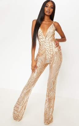 ac6f783b8067 PrettyLittleThing Gold Sequin Flared Leg Jumpsuit
