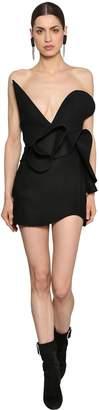 Saint Laurent Cloth Wool Ruffled Mini Dress
