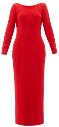 Rebecca De Ravenel Jamie Scoop Neck Wool Crepe Maxi Dress - Womens - Red