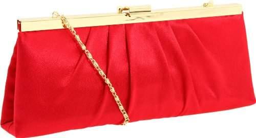 Jessica McClintock Women Pewter Satin Pleated Rectangle Evening Purse Bag Clutch